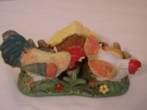 Rooster Chicken Fence and Hen House Ceramic Figurine  256