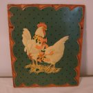 Decopage Two Chicken Hens Wooden Picture  261c