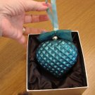 Jeweled Blown Glass Turquoise Heart Ornament New in Box