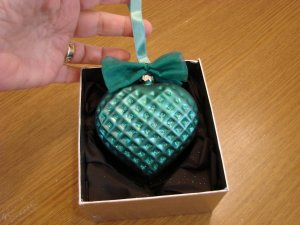 Jeweled Blown Glass Teal Heart Ornament New in Box