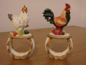 Rooster Chicken Hard Resin Napkin Rings Artisan Flair