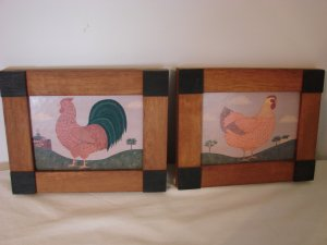 Chicken and Rooster Pictures on Composite Board Framed