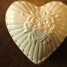 Ceramic Heart Shaped Candle - Light Gingham Scent - Yellow