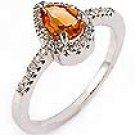 1 Ct Pear Cut Citrine & Diamond Ring 14k WG