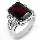 0.40 CT Round & Garnet Diamond Ring 14k WG