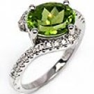 3 CT Peridot & Round Engagement Diamond Ring WG