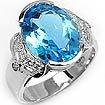0.16 Ct Round & Blue Topaz Diamond Ring 14k WG