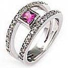 1/2 Ct Pink Sapphire Round Diamond Ring WG