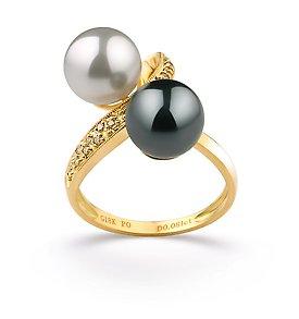 Black and White Japanese Akoya Ring