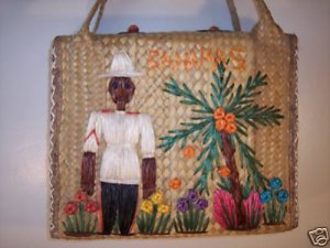 RARE~ANTIQUE 1950s BAHAMAS BAG TOTE PURSE STRAW VINTAGE