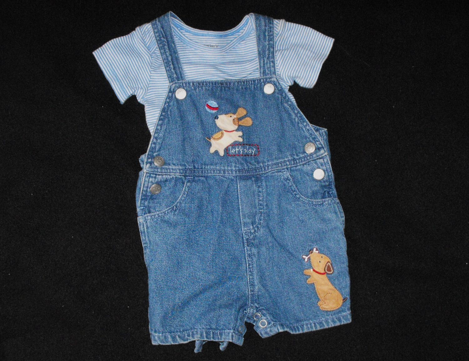 Baby Boys 12 month Carter's Puppies Overall Shorts Outfit