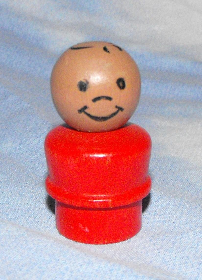 1*SOLD~Vintage Fisher Price Little People Wooden AA Boy