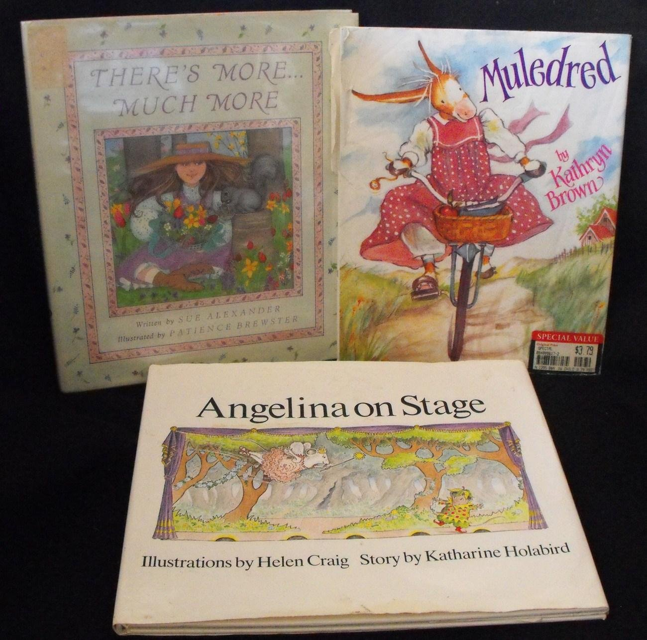 3 GIRLS HARDCOVER BOOK LOT MULEDRED, ANGELINA BALLERINA +