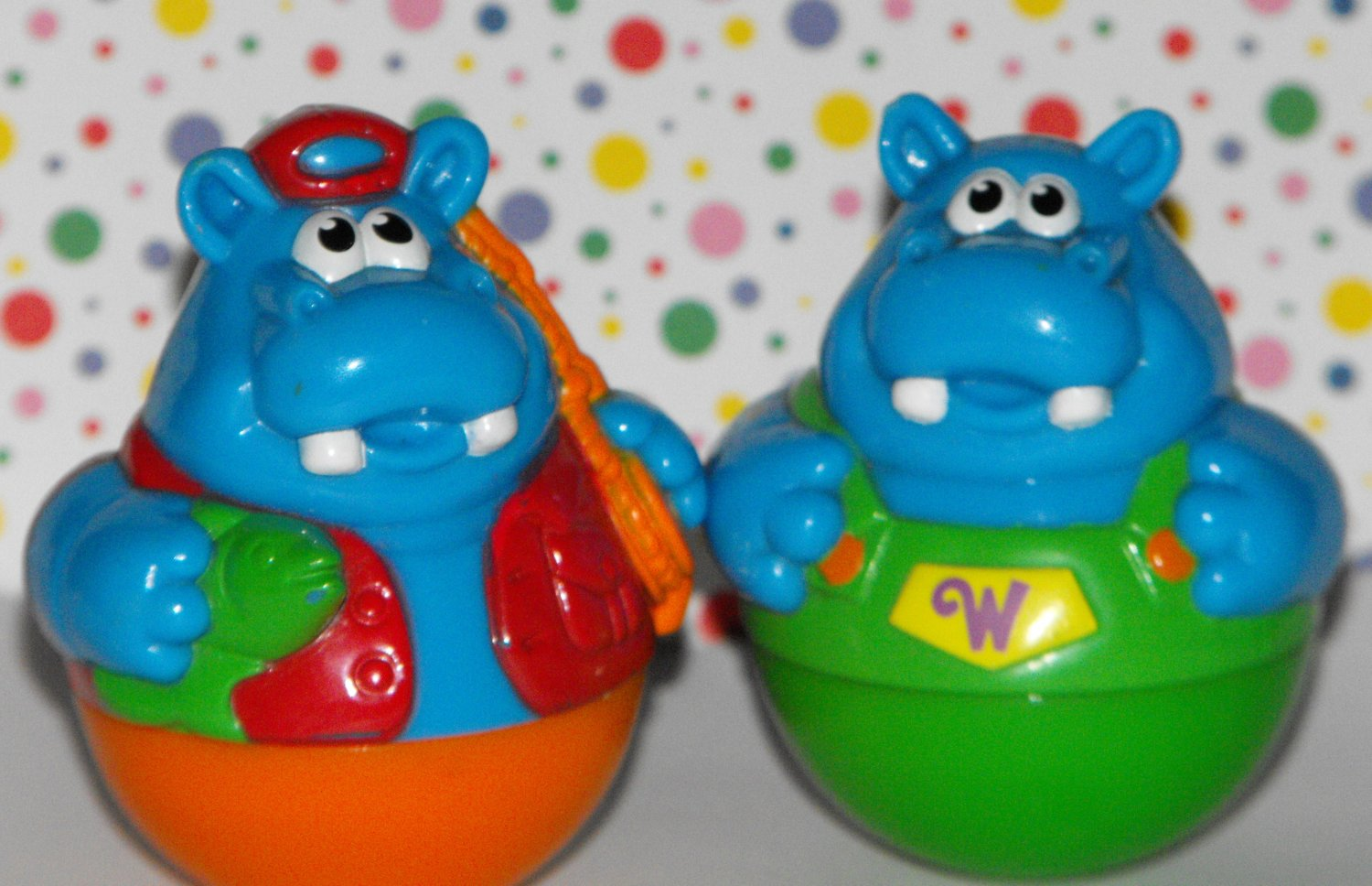 11*SOLD~Playskool Weebles Hippo Lot Fisherman Green Overalls