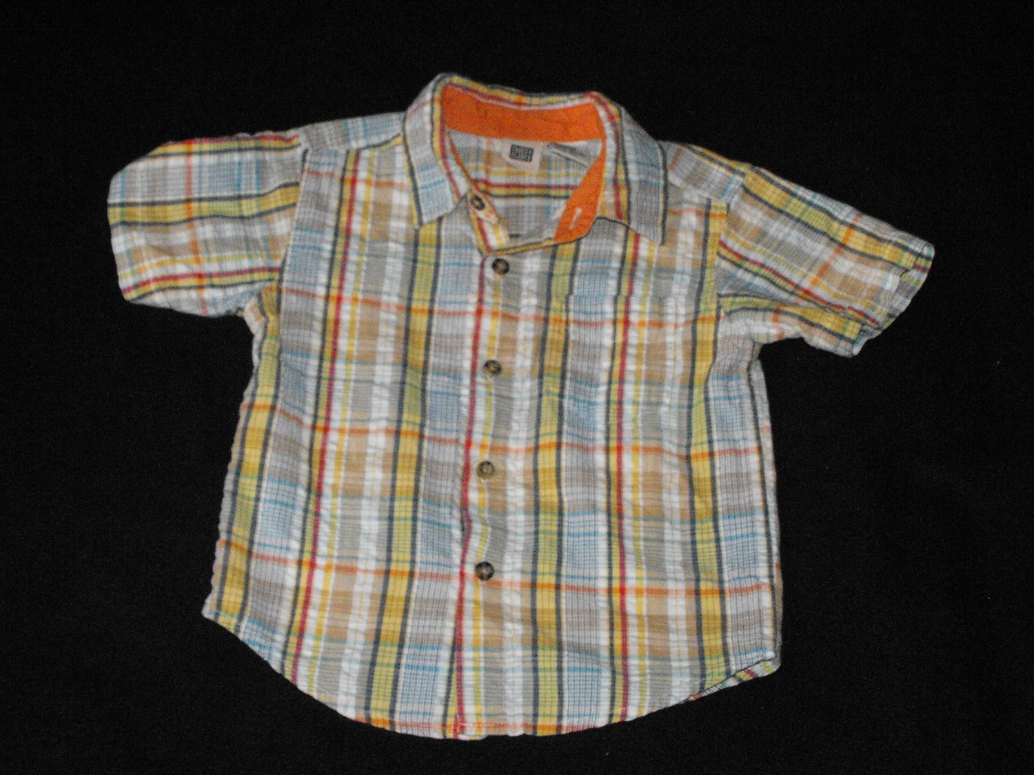 Faded Glory Baby Boys 18-24 Months Shortsleeve Plaid Button Up Sweatshirt