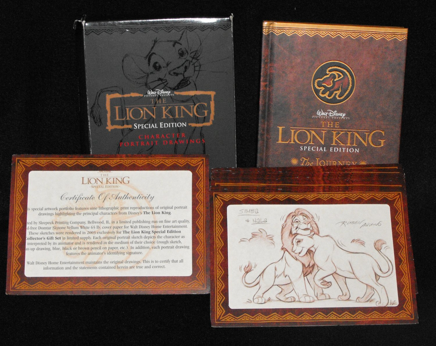 The Lion King 2003 Collector's Gift Box with 9 Character Drawing and Book