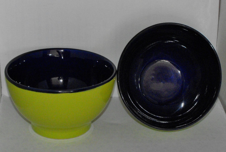 B.I.A Cordon Bleu Bowls Chartruse & Cobalt Coupe Soup Cereal Rice Lot of 2