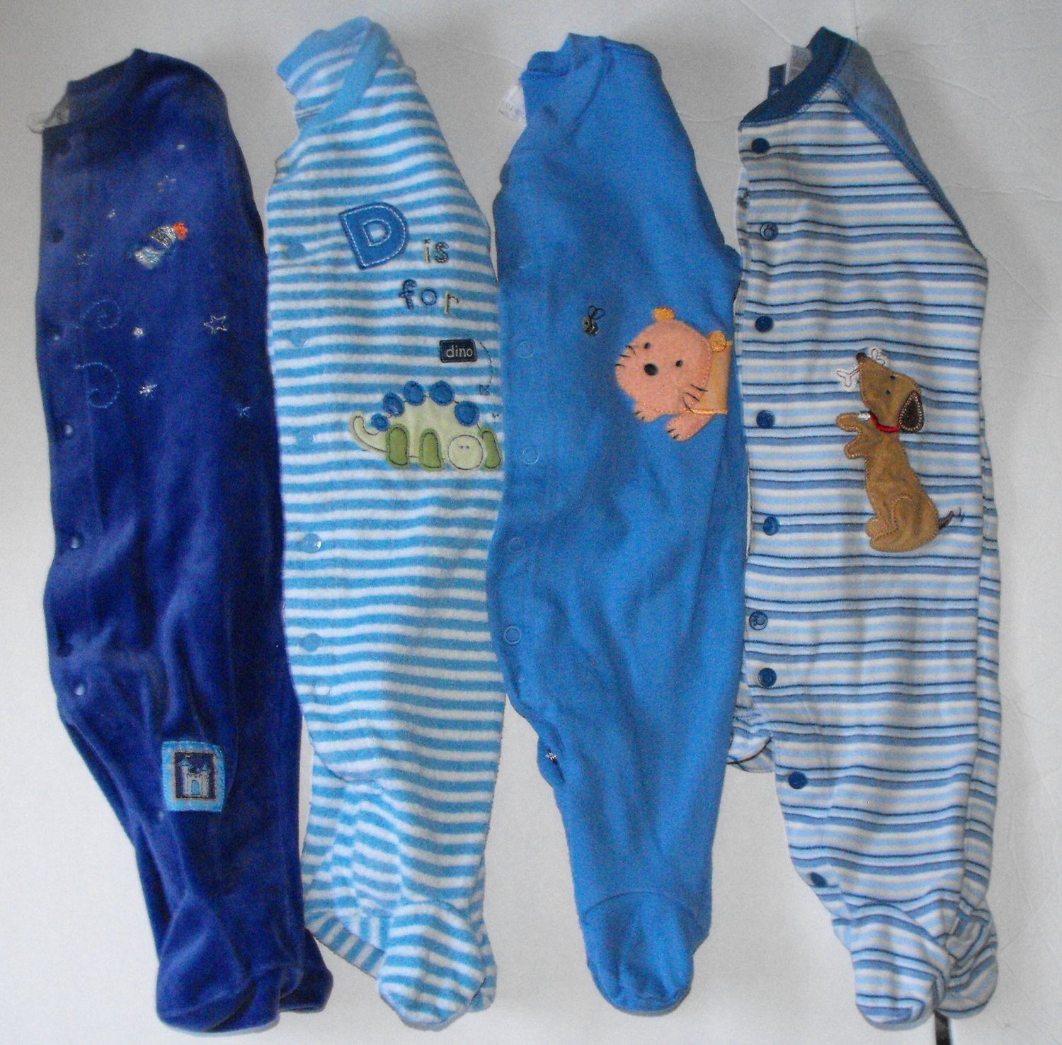 Carter's Baby Boy Blue 3-6 Months Sleepers Lot of 4