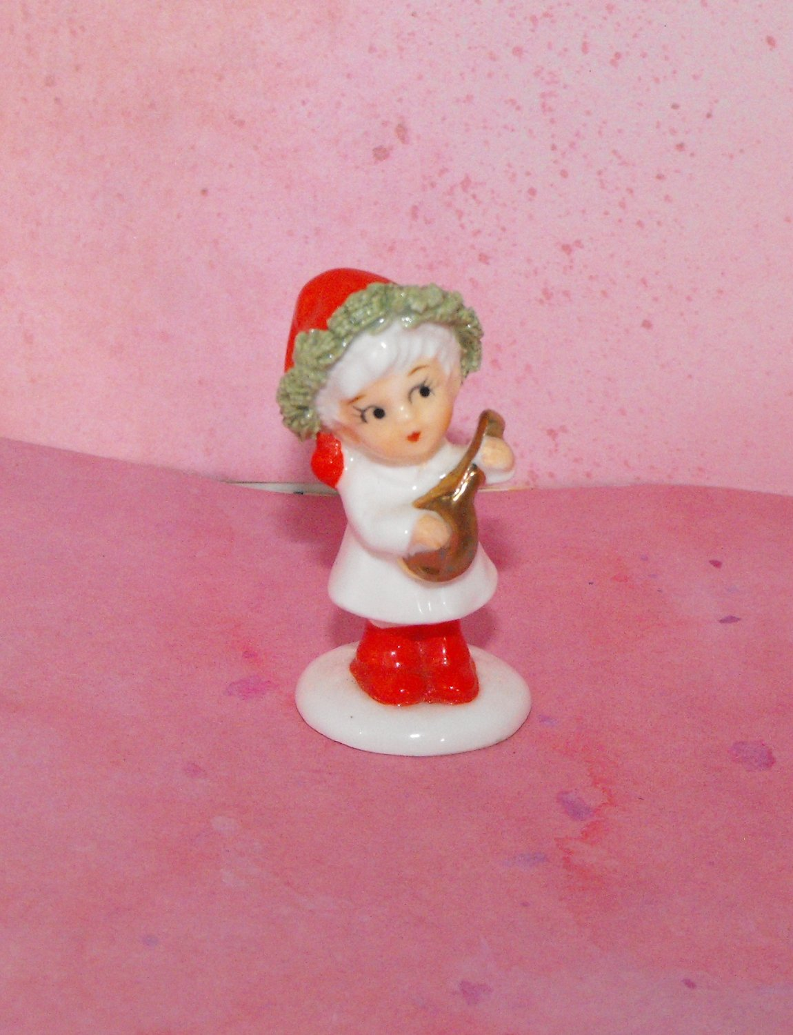 Small Christmas Girl with Instrument  Figurine Made in Japan