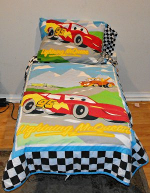 8*SOLD~Disney-Pixar Cars Checkered Flag Crib Toddler Bedding 4 Peice