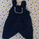 Baby Doll Clothes Blue Plaid Overalls Romper Outfit