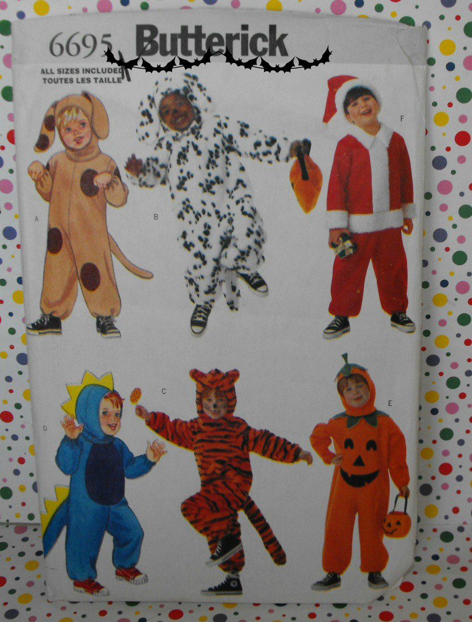 Dog, Pumpkin, Dinosaur, Santa Toddler Costume Pattern Butterick 6695