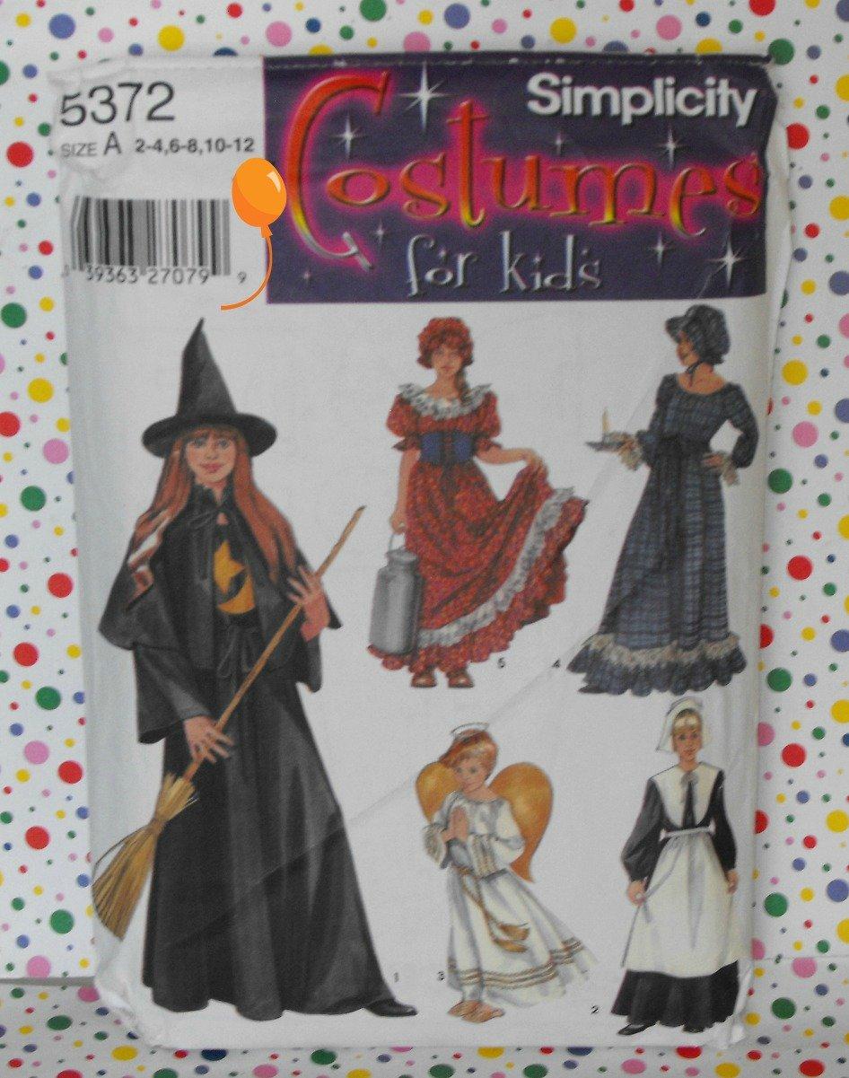 Witch, Milkmaid, Angel, Pilgrim Costume Pattern Simplicity 5372