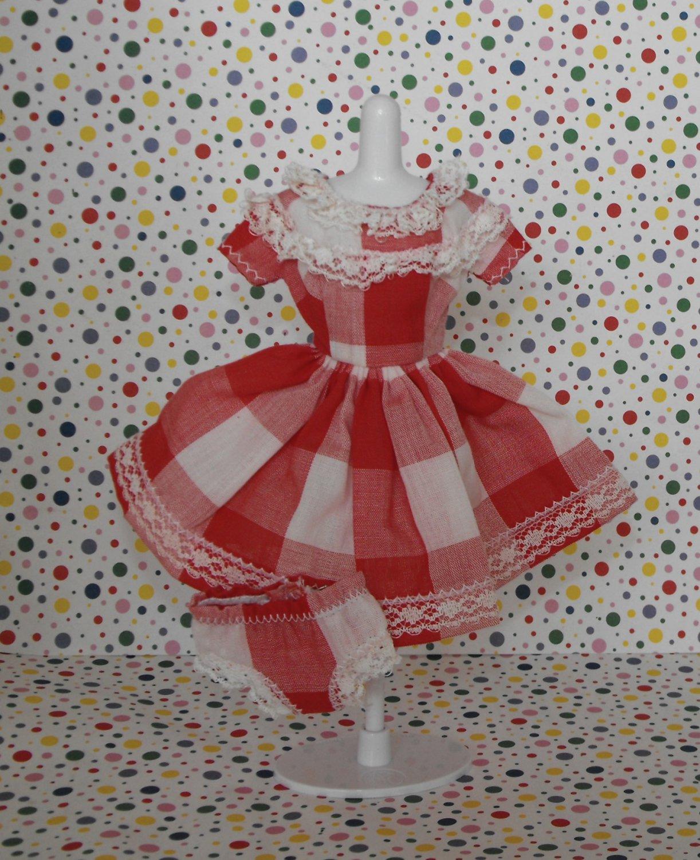 Barbie Vintage? Handmade Red Plaid Checkered Dress