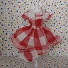 Barbie Vintage? Handmade Red Plaid Checkered Dress