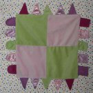 Carters Child Of Mine Pink Green Tag Satin Baby Blanket Blankie Security Lovey
