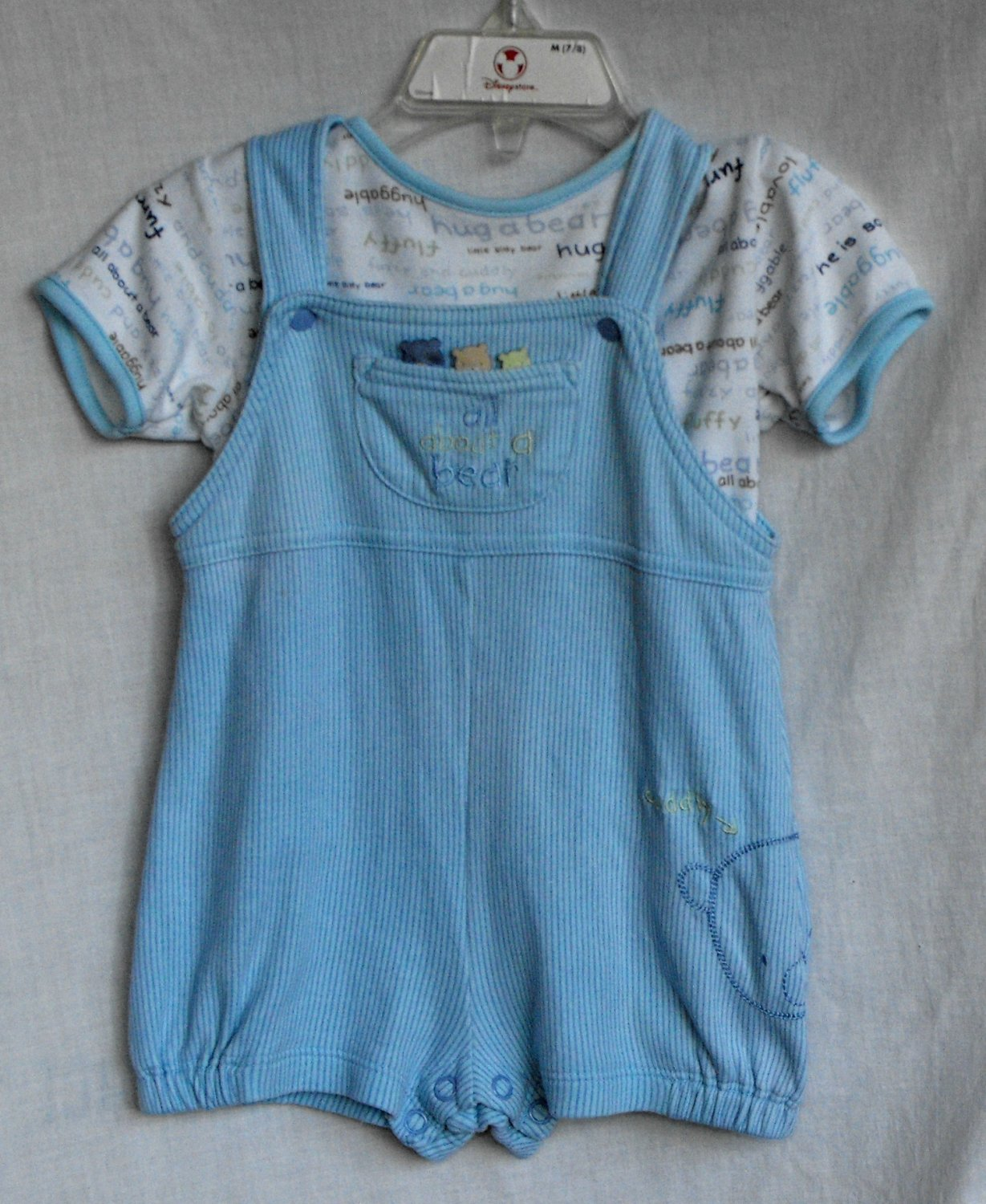 Carter's 6-9 Month All About A Bear 2 Piece Spring Summer Overall Outfit