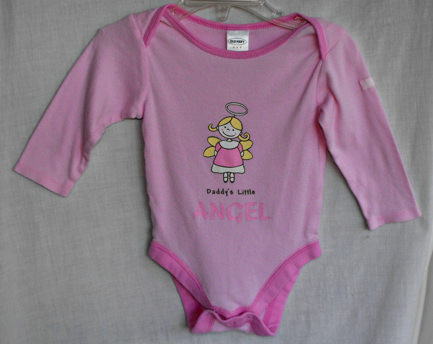 "Old Navy ""Daddy's Angel"" Baby Girl 3 6 Month Long Sleeve Onesie Top"