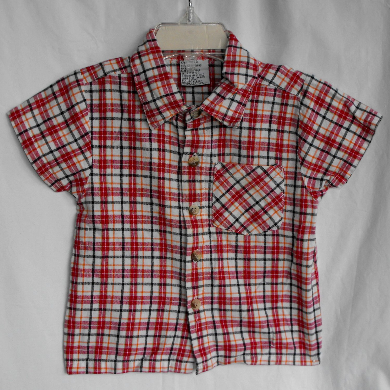 Baby Boy Short Sleeve Button Up Plaid Shirt 12 Months