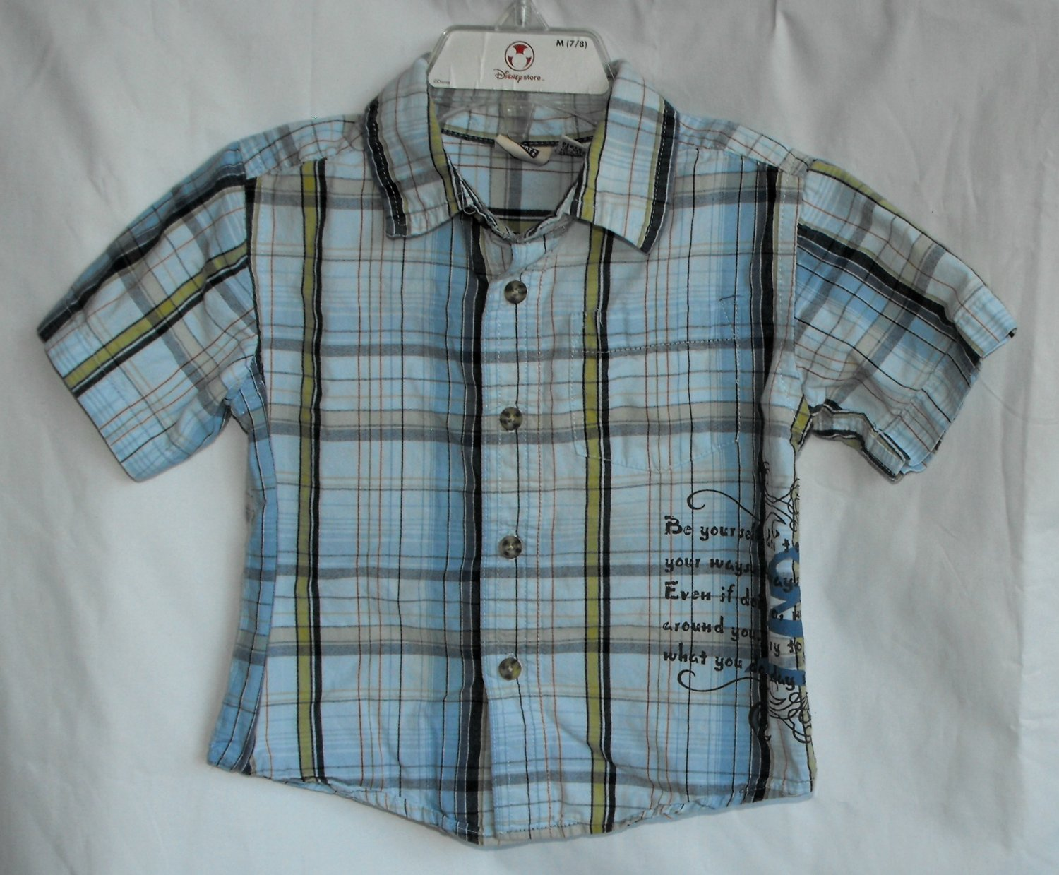 Faded Glory Boys 12 Months Blue Plaid Shortsleeve Button Down Shirt