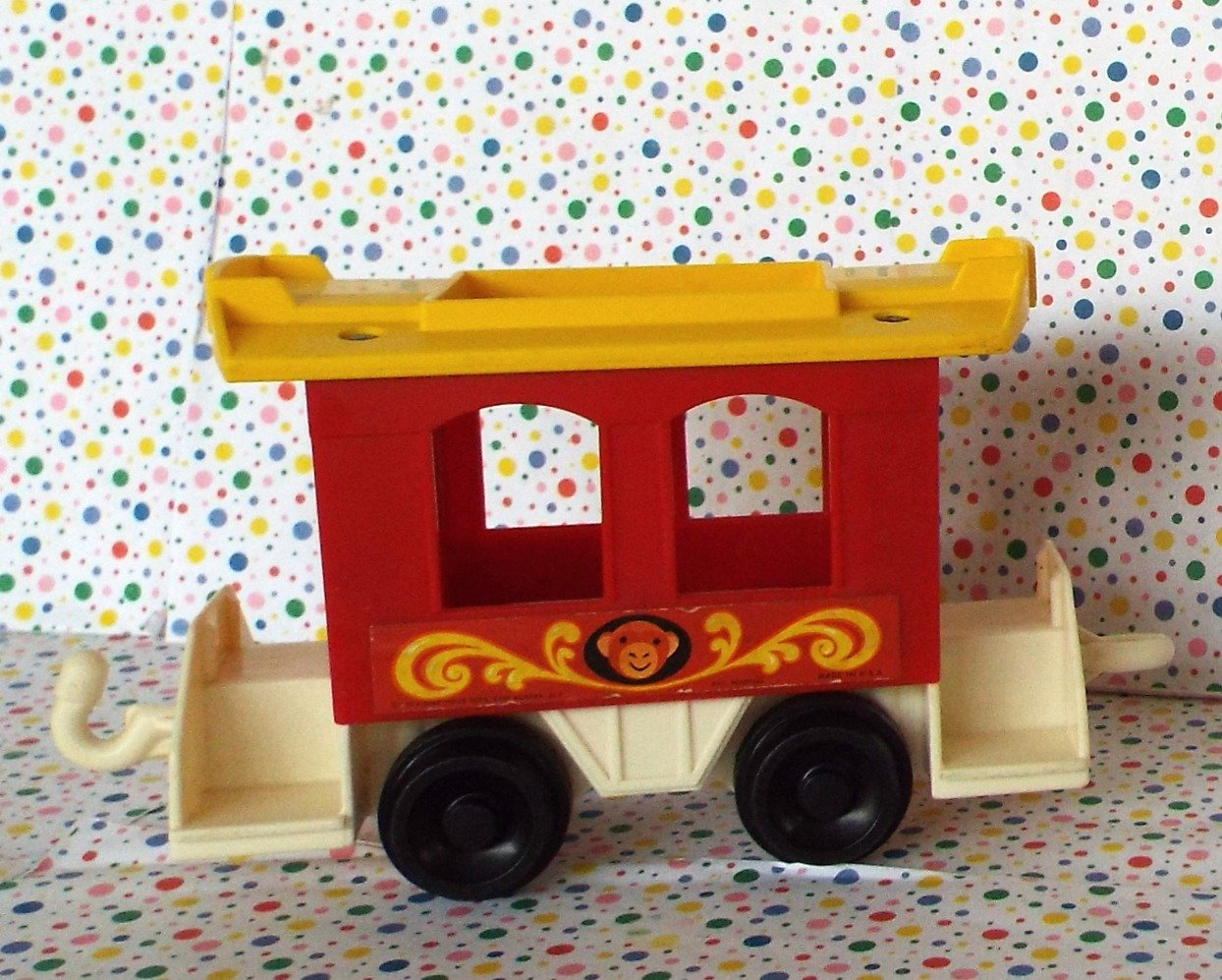 Vintage Fisher Price Little People Zoo Red Monkey Train Car Part #991