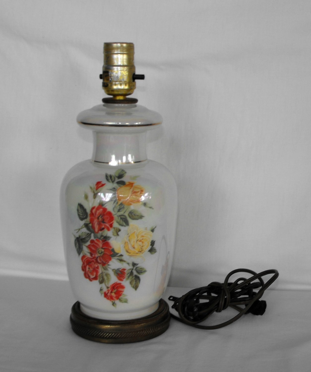 Vintage Table Lamp Hand Painted Flowers Opalescent