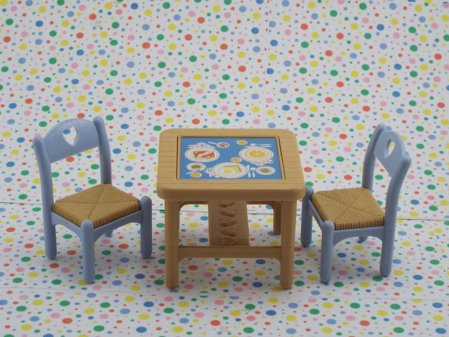 Fisher Price Loving Family Dollhouse Brown Kitchen Table and Chairs