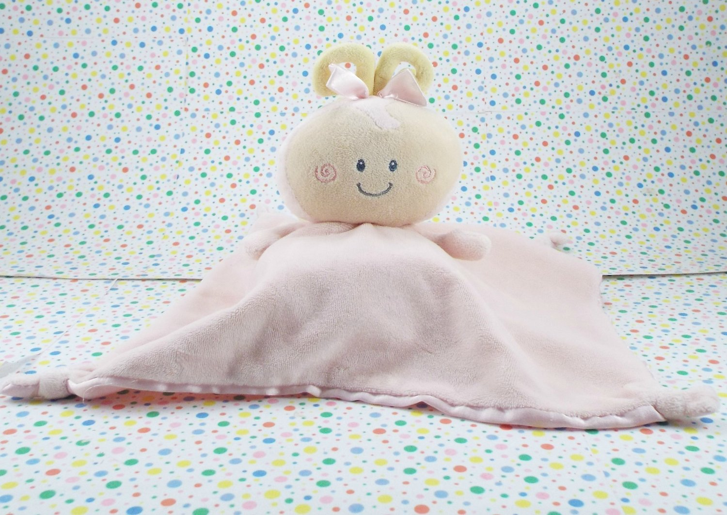 Baby Gund Personalibees Pink Bee Blankie Pink Satin Knotted Corners