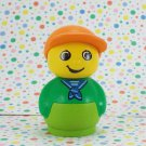 Lego Duplo Primo Bath Time Boat Figure Green Base Orange Baseball Hat