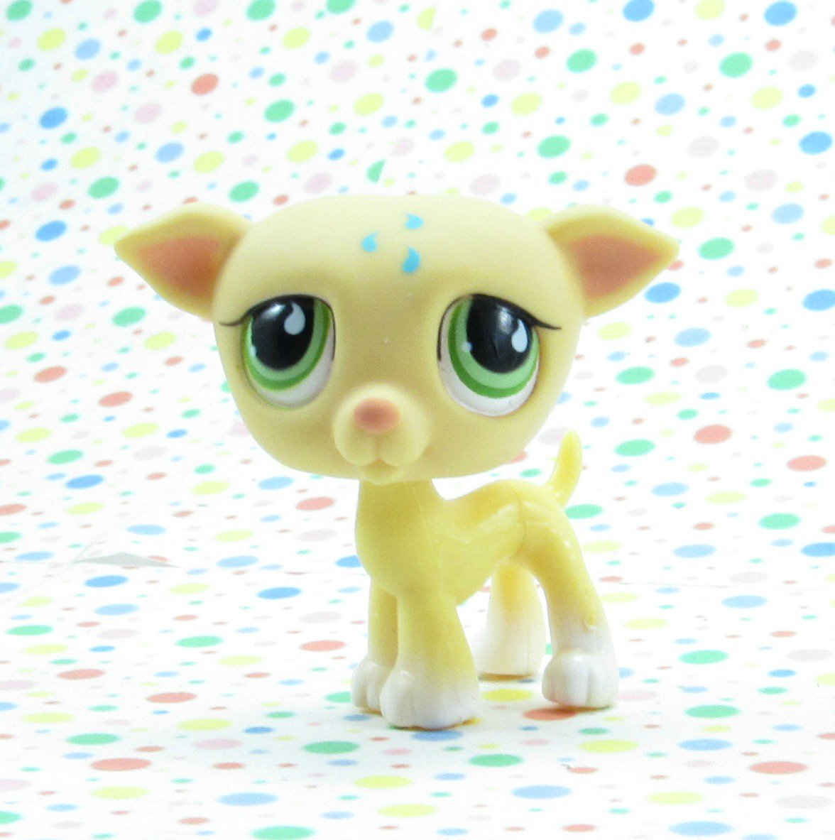 Littlest Pet Shop #875 Yellow Greyhound Whippet Dog ~ LPS