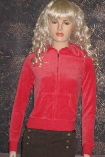 Victoria�s Secret $40 Coral Velour Plush & Lush Hoodie Jacket Small 226903