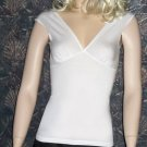 Victoria's Secret Cotton Blend V-Neck White Short Sleeve Top Small  210134
