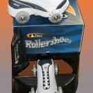 NEW White & Navy Wheely Roller Shoes Skates Boys 4 Ladies 5.5  8945a