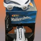 NEW White & Navy Wheely Roller Shoes Skates Boys 5 Ladies 6.5  8945a