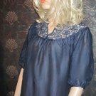 Victoria's Secret $68 Silk Navy Crochet Blouse XS  236128
