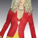 Victoria's Secret $128 Cotton Sequin Tomato Red Orange Eyelet Blazer 8  184120