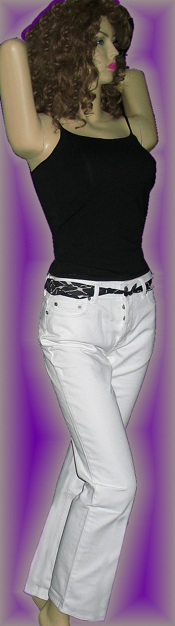New Victoria�s Secret $60 White Boyfriend Cotton Bootcut Jeans 6  164384