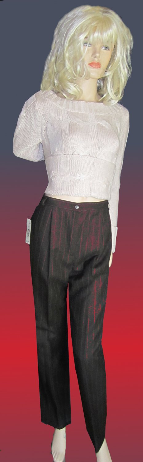 NWT Harve Benard $92 Fully Lined Brown Striped Wool Pants 8  331726