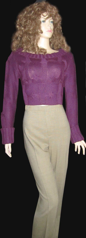 New Ellen Tracy $299 Beige & Green Wool Houndstooth Pant 6  402110