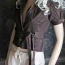 Victoria's Secret Short Puffed Sleeve Stretch Cotton Belted Brown Shirt Blazer 2 218290